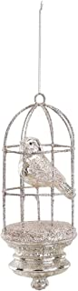 DEMDACO Bird in Cage Glittered 3 x 7 Inch Glass Hanging Christmas Ornament