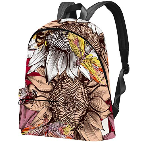 Big Backpack, Sunflower Flowers Bees and Dragonfly Pattern Travel Hiking Daypack, College School Bag for Women & Men