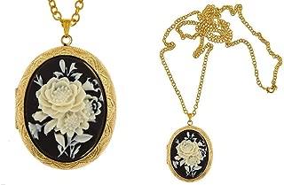 I.G.N.Y. Design Rose Cameo Locket Necklace Vintage Style