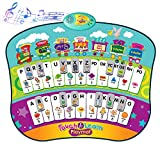 TECBOSS Upgraded 4 in 1 Educational Interactive Poster, Electronic Alphabet Wall Chart, Musical Dance Mat, Spelling Mode&Quiz Retry Learning Toys for 3-5 Year Old, Early Education Toys for Boys Girls