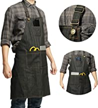 Lightweight Denim Jean Tool Apron with Pockets Waterproof Waxed Canvas Apron for Men and..