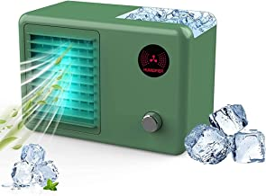 HXDream portable air conditioner fan, cooling fan, with 3 Speed Modes 7 Colors Night Light, desktop air humidifier, USB re...