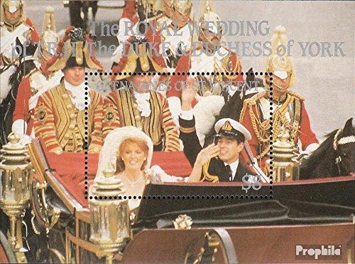 St. Vincent-Grenadines Bloc 18 (complète.Edition.) 1986 Prince Andrew + Sarah Ferguson (Timbres pour Les collectionneurs) Uniformes / Costumes