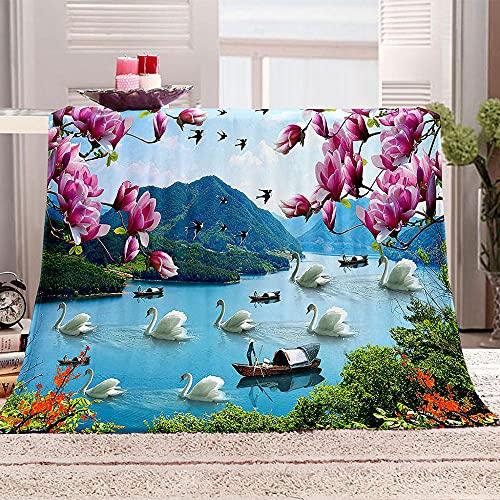 Flanelldecke Kuscheldecke Schwan Boot Blume Berg Sherpa Decke 3D Gedruckt Warm Flauschige Decke TV-Decke Sofadecke Wohndecke Tagesdecke Kinderdecken 130x150cm