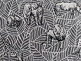 Qualitativ hochwertiger Baumwollstoff, Elefanten und Löwen