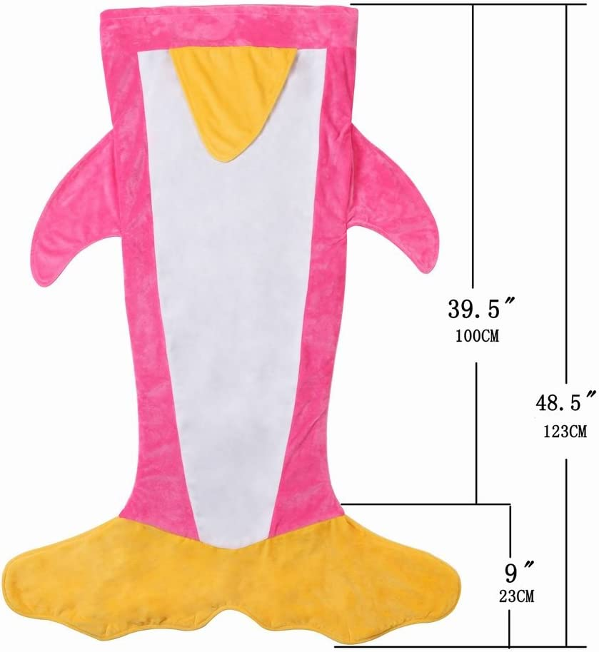 Evernew Crystal Cashmere Cartoon Penguin Sleeping Bag Blanket for Children Legth 47.2 Inch Black