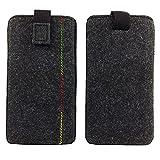 Filztasche, Handytasche, Handyhülle, Tasche, Hülle Schutzülle aus Filz für 5,2 Zoll Smartphones wie Samsung Galaxy J5, J5 2016, A5 2016, HTC One M10,melange schwarz