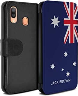 Personalized Custom National Nation Flag 3 PU Leather Case for Samsung Galaxy A40 2019 / Australia/Australian Design/Initial/Name/Text DIY Wallet/Cover