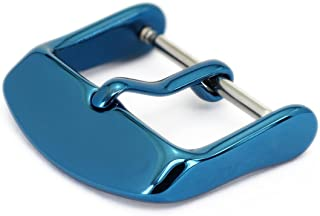 Watch Bands Straps Replacement Buckle Wellfit Watch Watchband Clasp - Choice of Color and Size - Vacuum PVD Finish (22mm, Blue)