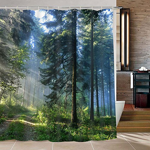 Likiyol Bathroom Shower Curtain Misty Forest Bathroom...