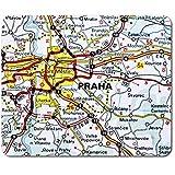 Alfombrilla rectangular para ratón – Praga Praha República Checa mapa de viaje 23,5 x 19,6 cm (9,3 x 7,7 pulgadas) para computadora y portátil, oficina, base antideslizante #46185