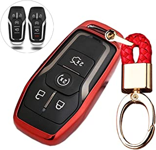 Royalfox(TM) 4 5 Buttons TPU Smart keyless Entry Remote Key Fob case Cover Keychain for Ford Mustang F-150 F-450 Explorer Taurus Fusion Edge,Lincoln MKZ MKC MKX (red)