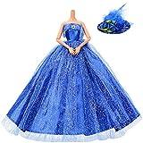 Asiv Robe de Soirée Mode pour Poupée 11.5'', Magnifique Robes de Mariée Vêtements avec Un Chapeau en Plume, Bleu
