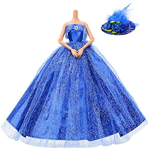 ASIV Premium Splendente Fatto a Mano Principessa Sposa Moda Dolls Dresses, con Piuma Cappello Blu