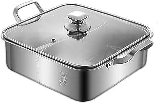 Smay 両手鍋 仕切り 付き 2食鍋 ステンレス だし汁 冬鍋 火鍋 鴛鴦鍋 卓上二食鍋 鍋パーティに最適 中華火鍋 調理器具 2種類の味を同時に楽しめる 同時に調理可能 IH ガスコンロ対応