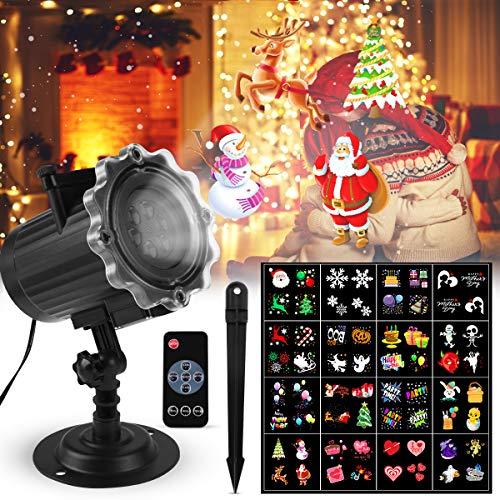 Proyector Navidad LED, FOCHEA IP44 Luces de Proyector Interior y Exterior con 16 Diapositivas Reemplazables y Control Remoto RF para Halloween, Navidad, Valentín, Fiesta, Cumpleaños