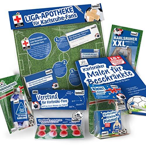 Karlsruhe Fahne ist jetzt das MAXIMAL SPAß Paket für KSC-Fans by Ligakakao.de   große Hissfahne mit Vereins Logo, blau-weiß