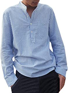 dca0cfedee Camisa a Rayas para Hombre - Moda Manga Larga Cuello Mao Regular Fit Shirt  Hombres Básica