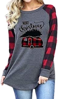 Plus Size Merry Christmas Plaid Truck Tree Graphic Cute Shirt Women's Long Sleeve Raglan Tops Blouses Tees