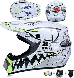 JCLDG Motorradhelm, Motorrad Crosshelm, Motocross Helm mit Brille Maske Handschuhe, Fullface MTB Helm Kinder Cross Helm Mopedhelm Fahrrad Enduro Downhill BMX Off Road ATV für Herren Damen