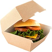 Ripple Wall Burger Box, Hamburger To Go Box, Disposable Take Out Container - Kraft Brown - 4