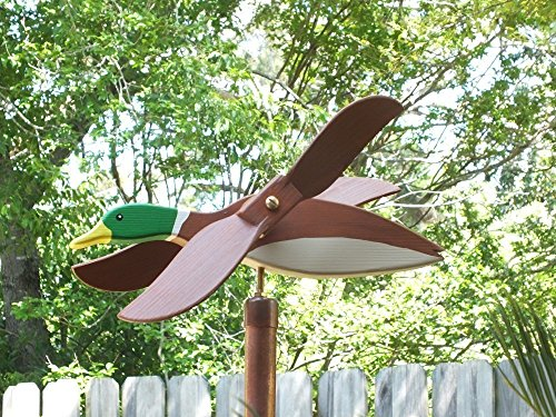 Mallard Duck Whirligig (Standard), handmade from solid southern cypress and solid brass hardware