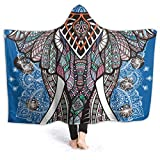 Watercolor Elephant Flower Psychedelic Indian Bohemian Colorful Hippie Hippy Elephant Flannel Wearable Blanket Robe Wrap Ultra Soft Throw Indoors or Outdoors Hooded Blanket