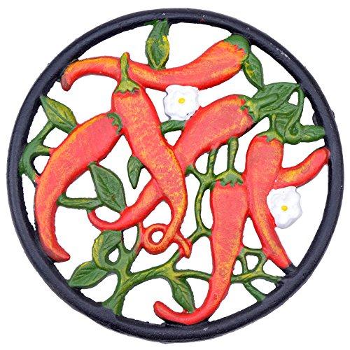 "Decorative Cast Iron Trivet Hot Chilli Peppers 7"" Wide"