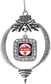 Inspired Silver - Ski Patrol Charm Ornament - Silver Square Charm Holiday Ornaments with Cubic Zirconia Jewelry