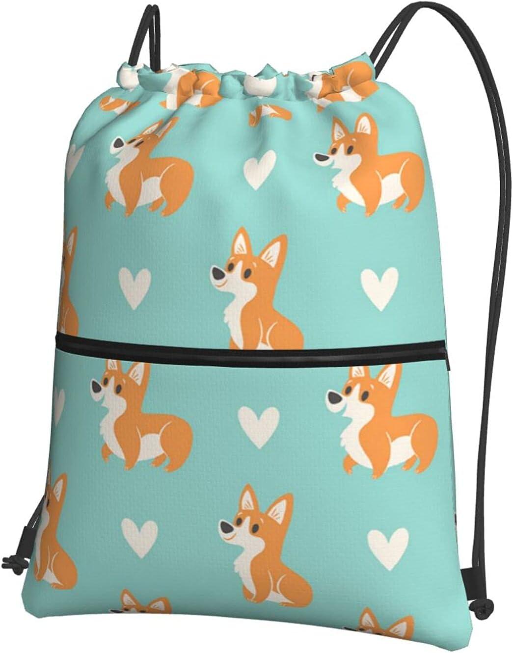 Cartoon Cute Raleigh Mall Regular discount Animals Drawstring Backpack Spor Corgi