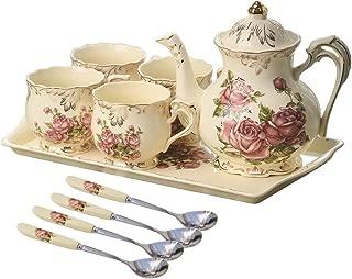 YOLIFE Red Rose Ivory Ceramic Tea Set,Vintage Tea Set With Teapot,Pretty Tea set Service for 4