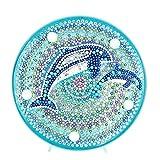 5D Diamant-Maler-Kits DIY LED Nachtlicht Full Drill Kristall Strass Nachtlampe Stickerei Mosaik-Punkte Malen nach Zahlen Kits Kunst Handwerk für Heimdekoration, Delfin, 150 * 150mm/5.91 X 5.91in