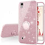 LG X Power Case,LG K6P/K210 Glitter Case, Silverback Girls Bling Glitter Sparkle Cute Case with 360 Rotating Ring Stand, Soft TPU Outer Cover + Hard PC Inner Shell for LG XPower K210 / K6P -Rose Gold