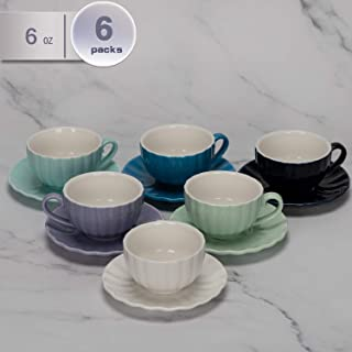 amHomel Porcelain Cappuccino Cups with Saucers 6 Ounce for Specialty Coffee Drinks, Espresso,Cafe Mocha and Tea Pumpkin Design Set of 6, Cold assorted colors
