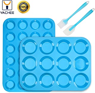 Silicone Muffin and Cupcake Baking Pan Set (Large 12 & Mini 24 Cup Sizes), Non Stick BPA Free and Oven & Dishwasher Safe Silicon Bakeware Pans & Tins, Reusable Top Home Kitchen Rubber Trays & Molds