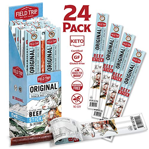 Field Trip Beef Jerky Sticks | Keto Gluten Free Jerky, Low Carb, Healthy High Protein Snacks With No Nitrates, Made With All Natural Ingredients | Original Sea Salt | 1oz, 24Count