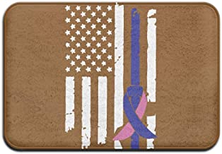 Youbah-01 Indoor/Outdoor Door Mats with Thyroid Cancer Awareness USA Flag-1 Graphic for Patio Or Entryway