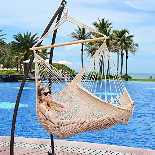 Lazy Daze Hammocks Hanging Chair Caribbean Swing Chair Hammock Chair with Soft-Spun Cotton Rope, 40 Inch Hardwood Spreader Bar Wide Seat, Max Weight 300 Pounds, for Indoor Outdoor Garden Yard, Natural