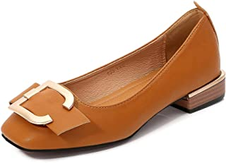 Women's Square-Toe Flats, Large Size 2Cm High D Type Metal Buckle Matte Closed-Toe Single Shoes Comfortable and Casual for Daily Wear