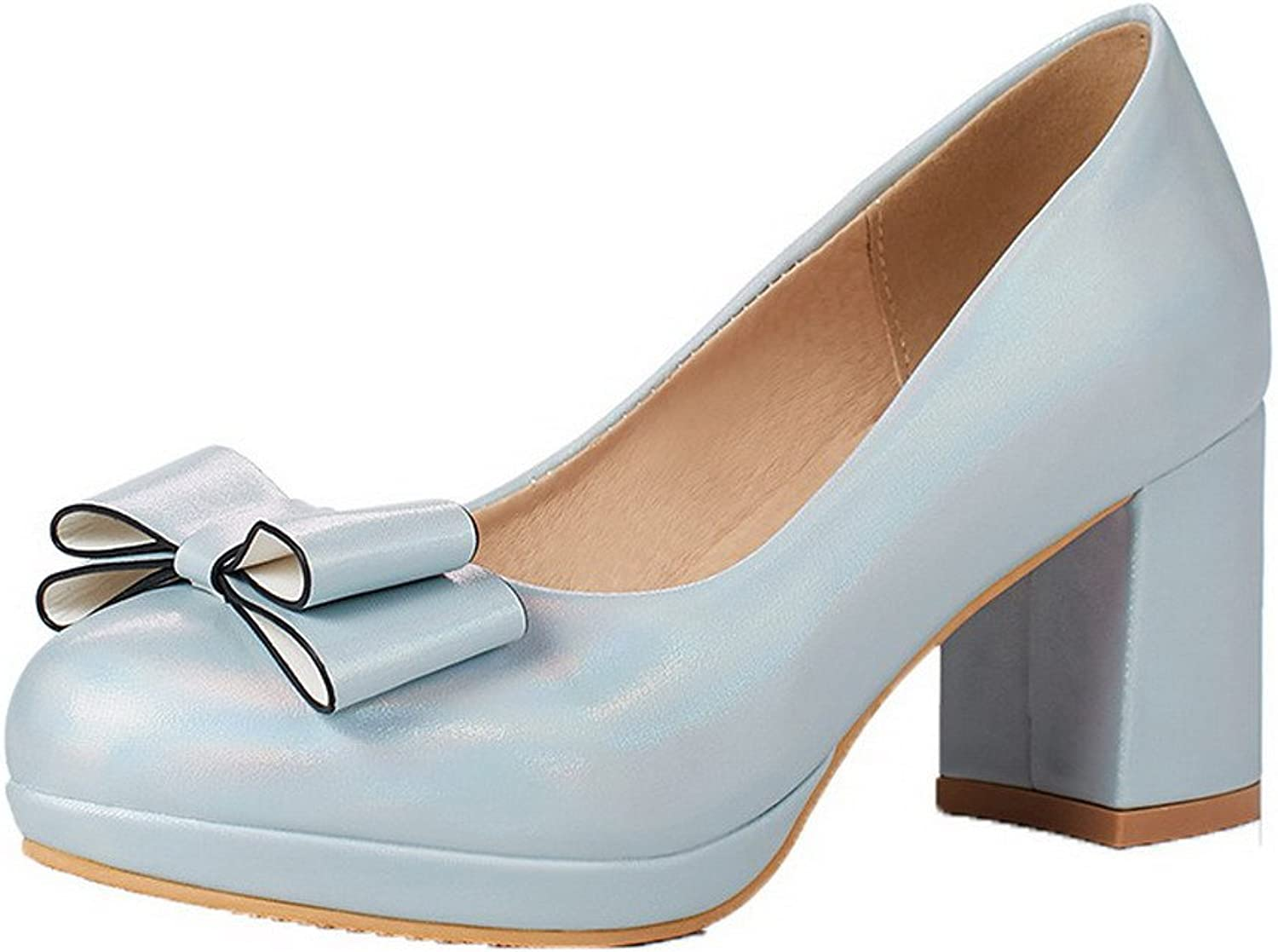 AmoonyFashion Women's PU Round Closed Toe Solid Pull-On Pumps-shoes,BUSDT003081