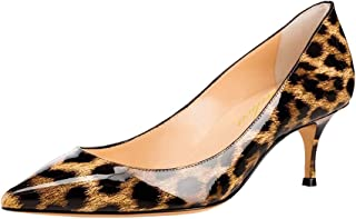 Lutalica Women Patent Leather Shoes Pointed Toe Slip on Mid Kitten Heel Pumps Size 5.5-12 US