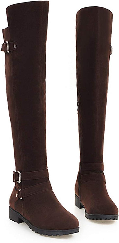 Zipper Buckle Flock Over The Knee Boots Black Brown Low Heels Boots Big Size 34-43