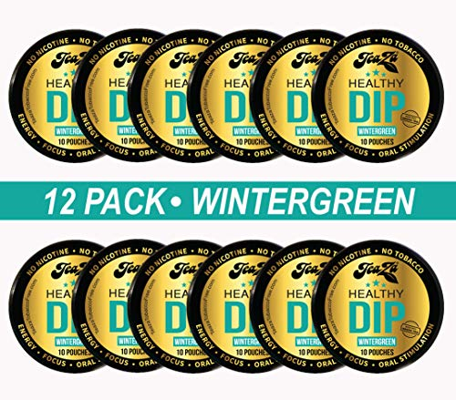TeaZA Herbal Energy Wintergreen Pouches -Nicotine Free, Tobacco Free Pouches - Made with Green Tea Energy Dip Pouches [12 Pack]