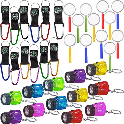 36 Piece Survival Favors Set with 12 Flashlights, 12 Compasses, 12 Magnifying Glass. Perfect for Scouts, Explorer, Camping, Hikes, Outdoor and Adventure Theme Parties