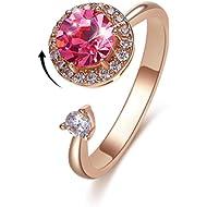 Bling Toman Womens Fidget Ring Girls Anxiety Ring Rose Gold Spinner Rings for Teens, Secret...