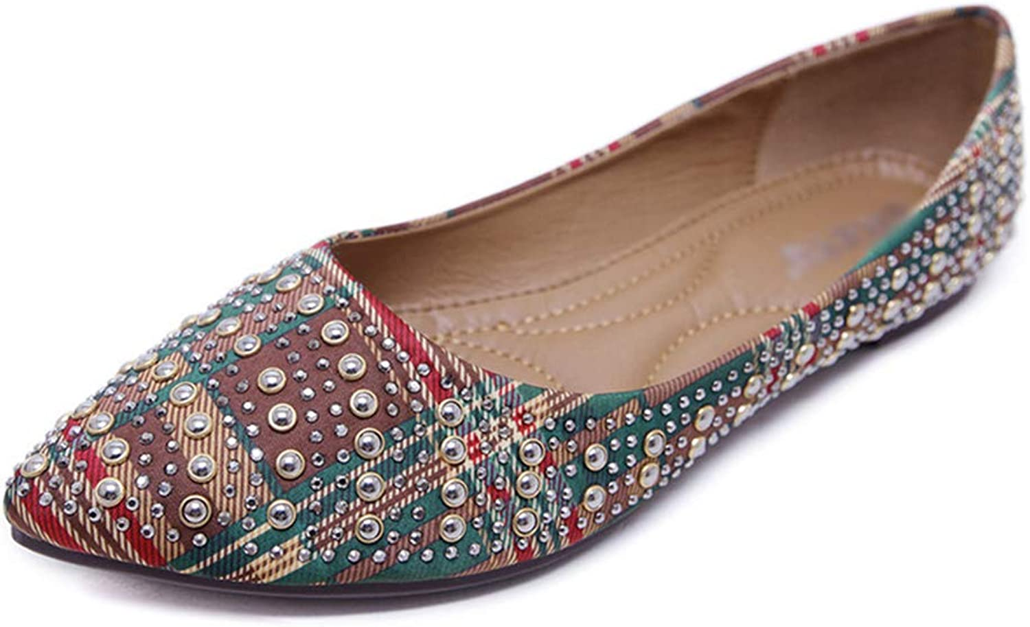 Qi meims Women Ballets Rhinestone Leather Low-Heels Pointed-Toe Antiskid Slip-on Pull-on Casual Comfortable Outdoor Girl Flats
