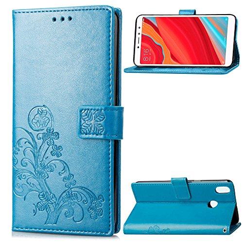 LAGUI Cover Adatto per Xiaomi Redmi S2,Custodia a Portafoglio in Fine Rilievo, con Sportellino Clip Sicurezza Magnetica e Porta Carte e Supporto, e Dotata di Cordino. blu