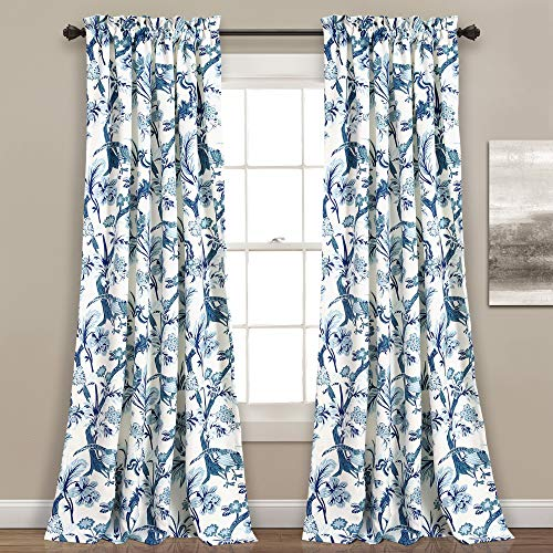 """Lush Decor, Blue Curtains Dolores Darkening Window Panel Set for Living, Dining Room, Bedroom (Pair), 95"""" x 52"""""""