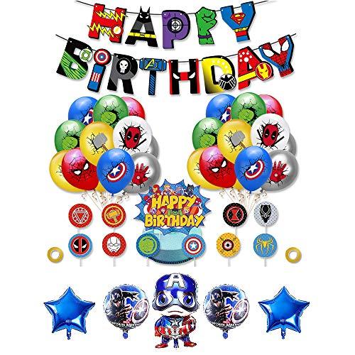 Decoracion Cumpleaños Superheroes Globos de Superheroes Globos de Papel de Superhéroe Feliz Cumpleaños del Pancarta Superhéroes Adornos de Pastel Superheroes
