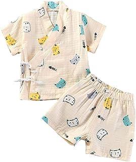 Pijama para Bebé Infantil Mono Algodón Kimono Estilo Japonés Ropa Camisa del Bebé Dormir Set Verano Japonesa Pijamas